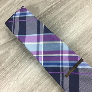 JF J. Ferrar Purple Plaid Tie